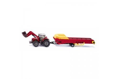 Tractor Massey Ferguson cu transportor baloti 1:50 metal Siku